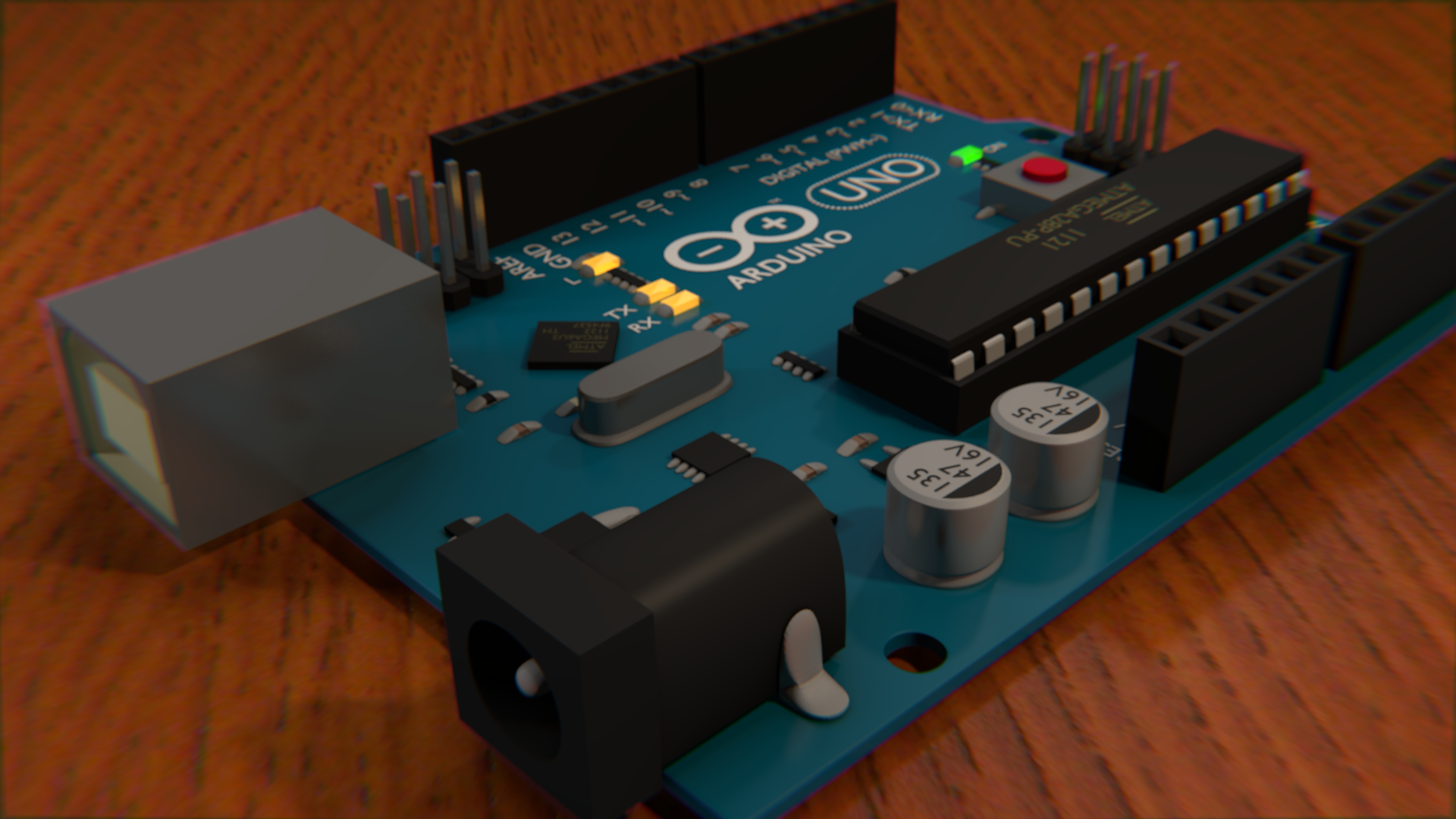 The finished Arduino Uno in Blender