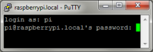The login prompt for the Raspberry Pi by SSH in PuTTY