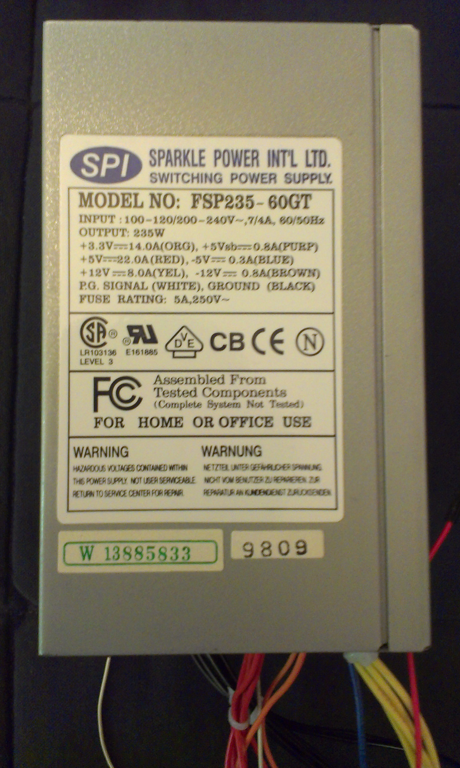 The label shower the power supplies specs. This is an older, weaker one.