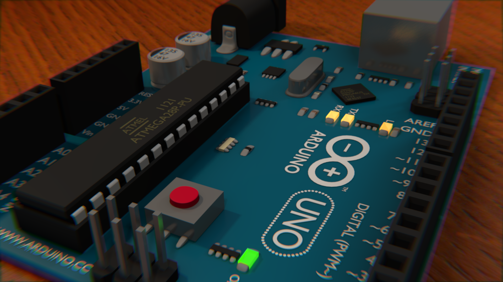 Another angle of the finished Arduino Uno in Blender